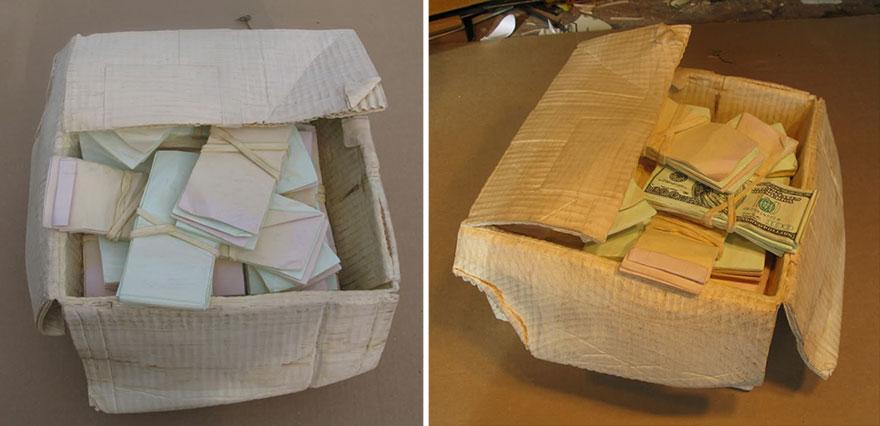 14095586377473 realistic wood sculptures box of cash randall rosenthal 7 How Randall Rosenthal Turned Some Wood Into A Box Full Of Cash