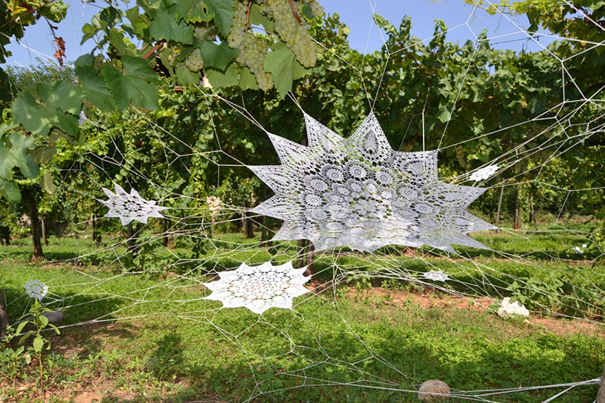 1409559180122 crochet lace street art nespoon 11 Intricate Lace design on Poland city streets will leave you spellbound!