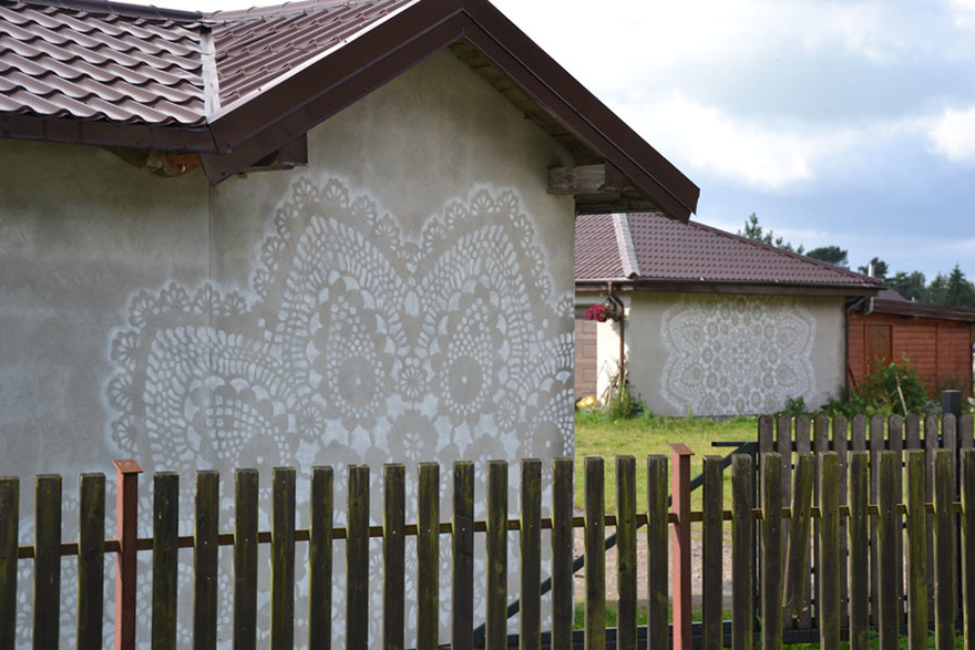 14095591867266 crochet lace street art nespoon 14 Intricate Lace design on Poland city streets will leave you spellbound!