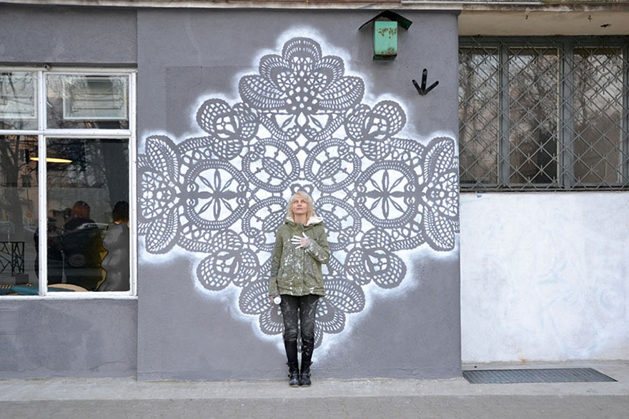 14095591924519 crochet lace street art nespoon 17 Intricate Lace design on Poland city streets will leave you spellbound!