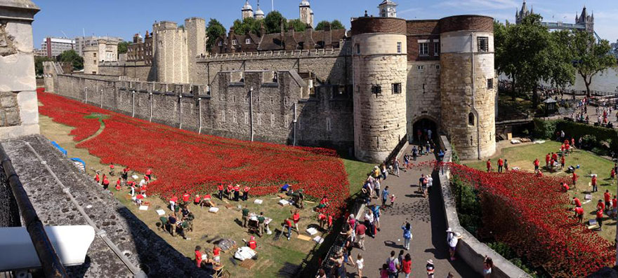 14095593281058 ceramic poppies first world war installation london tower 13 888,246 Poppies Pour Like Blood From The Tower Of London To Remember The Fallen Soldiers Of WWI