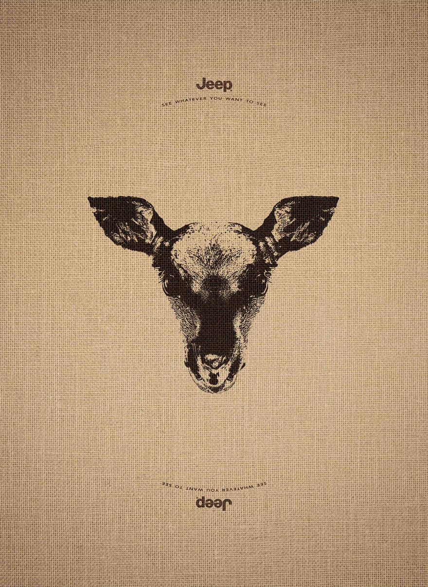 14155467757020 animal optical illusion jeep advertisement leo burnett 1 Jeep's Clever Ad Campaign Works Just As Well Upside Down