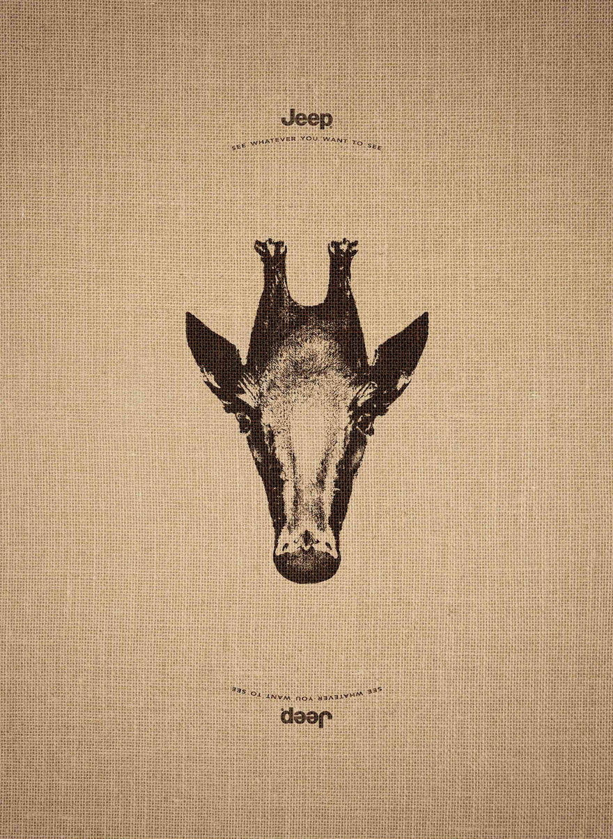 14155467759581 animal optical illusion jeep advertisement leo burnett 6 Jeep's Clever Ad Campaign Works Just As Well Upside Down